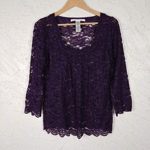 Diane Von Furstenberg Elisabetta Purple Lace Top